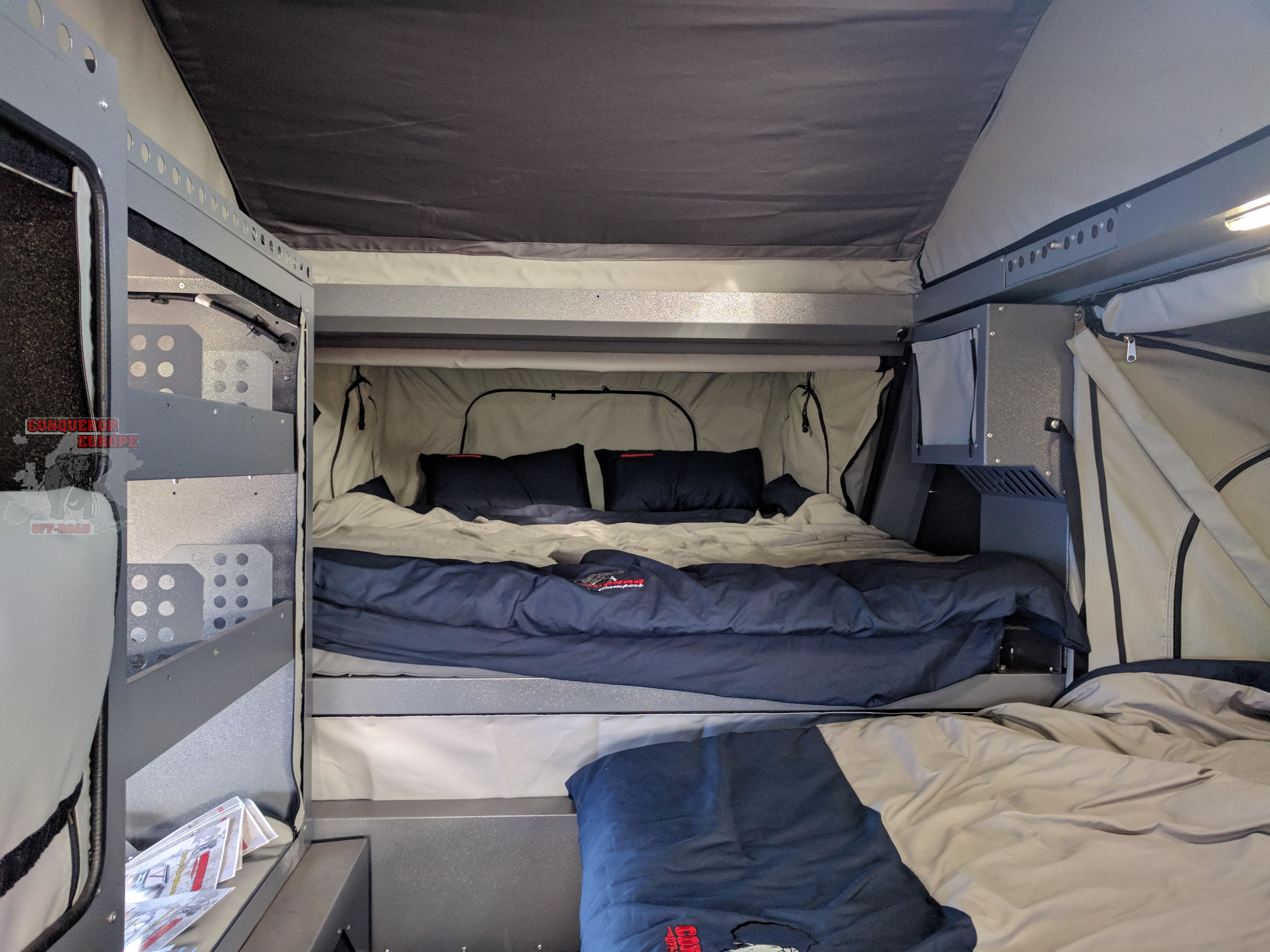 Inside, front bed and side bed to the right